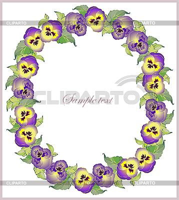 Greeting card with frame of pansies | Stock Vector Graphics |ID 3070827