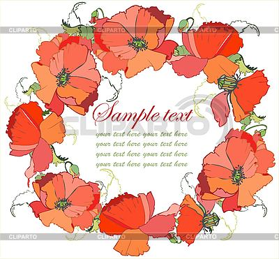 Decorative round frame with poppy flowers | Stock Vector Graphics |ID 3071045