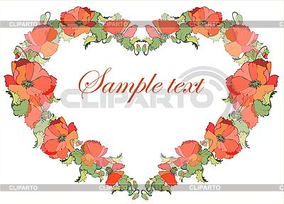 Decorative frame as heart of poppy flowers | Stock Vector Graphics |ID 3071073