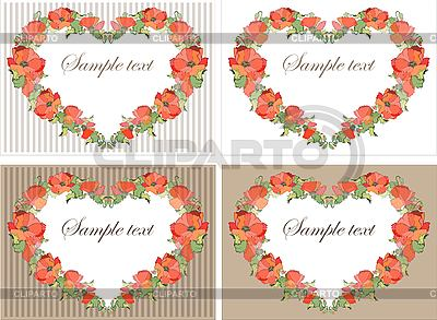 Decorative frame as heart of poppy flowers | Stock Vector Graphics |ID 3071077