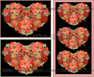 Decorative frame as heart of poppy flowers | Stock Vector Graphics |ID 3071081