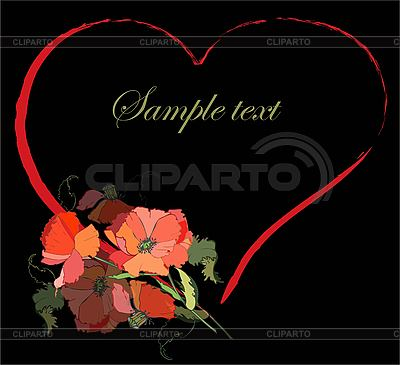 Valentines day greeting card with heart of poppies   Stock Vector Graphics  ID 3071215
