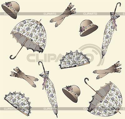 Фон из зонтиков, перчаток, шляпок и вееров | Векторный клипарт |ID 3071267
