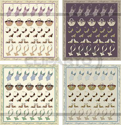 Grußkarte mit Badeanzug, Taschen und Schuhen | Stock Vektorgrafik |ID 3071277
