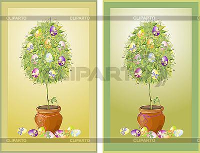 Wielkanoc rocznika karty z drzewa i jaj | Klipart wektorowy |ID 3071281