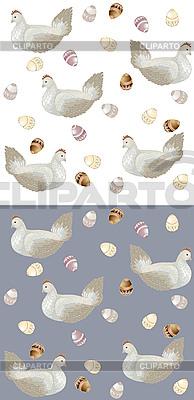 复活节蛋的鸡。背景。 | 向量插图 |ID 3071285