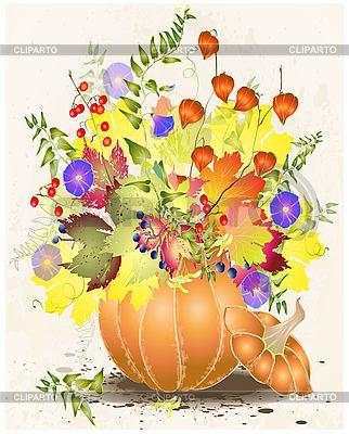 Herbstliche Grußkarte mit einem Kürbis | Stock Vektorgrafik |ID 3073677