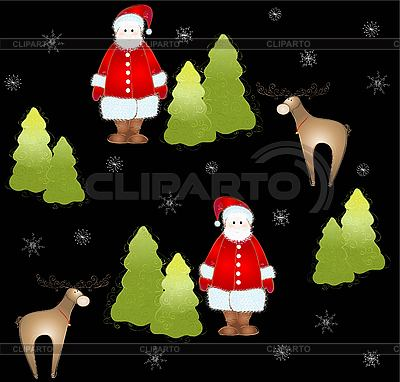 Background with Santa, deers and firtrees | Stock Vector Graphics |ID 3082914