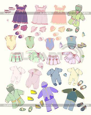 Set von Kinderkleidung   Stock Vektorgrafik  ID 3124732