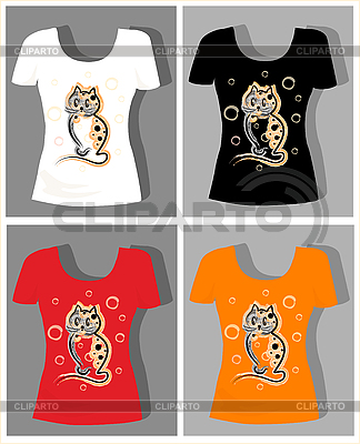 T-shirt designs with funny kitten | Stock Vector Graphics |ID 3045658