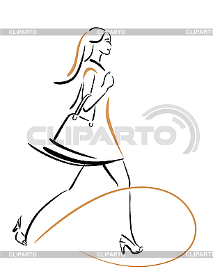 Hurring shopping girl with bags | Stock Vector Graphics |ID 3045896