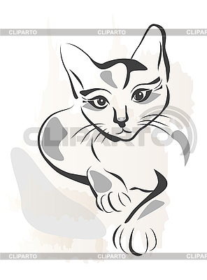 Grunge outline black cat | Stock Vector Graphics |ID 3045944