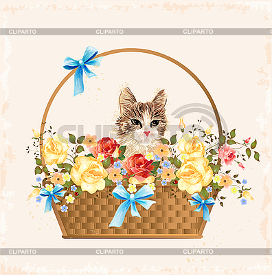 Vintage greeting card with kitten | Stock Vector Graphics |ID 3050347