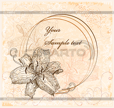 Vintage greeting card with lily | Stock Vector Graphics |ID 3051034
