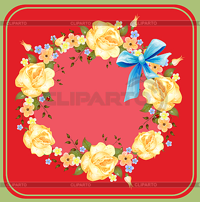 Flower wreath of roses on red   Stock Vector Graphics  ID 3051253