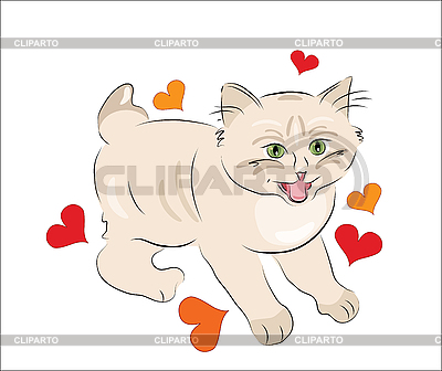 Happy kitten with hearts for valentines day | Stock Vector Graphics |ID 3051350