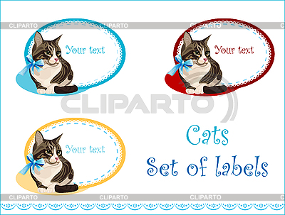 Set of labels with cat | Stock Vector Graphics |ID 3051373