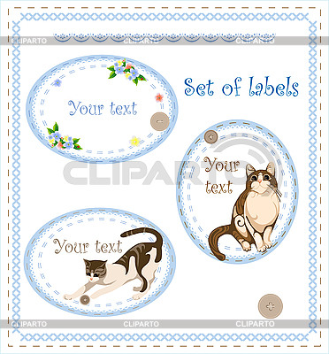Set of labels with cats and flowers | Stock Vector Graphics |ID 3051375