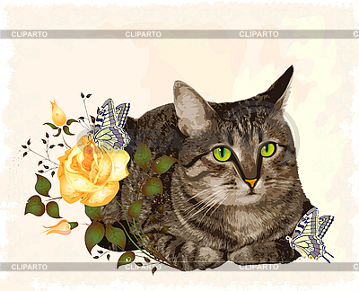 Vintage greeting card with cat | Stock Vector Graphics |ID 3051385