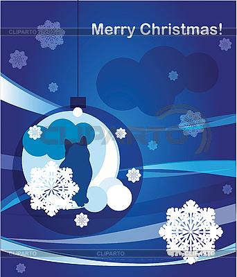 고양이 크리스마스 인사말 카드 | 벡터 클립 아트 |ID 3053421