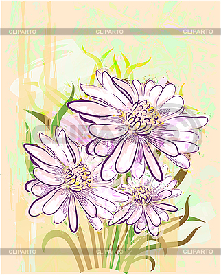 Grunge floral card with gerberas   Stock Vector Graphics  ID 3053537