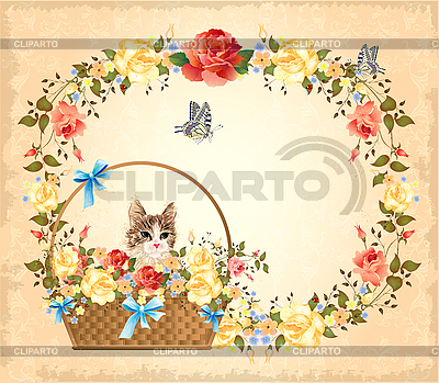 Greeting card with cat, roses and butterflies | Stock Vector Graphics |ID 3053664