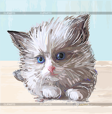 Fluffy kitten with blue eyes | Stock Vector Graphics |ID 3053725