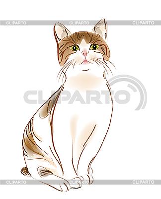 Portret imbir pręgowany kot | Klipart wektorowy |ID 3053732
