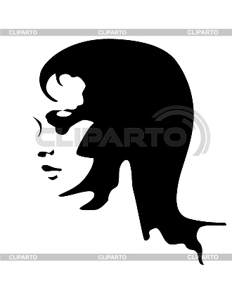 Black and white portrait of young woman   Stock Vector Graphics  ID 3053758