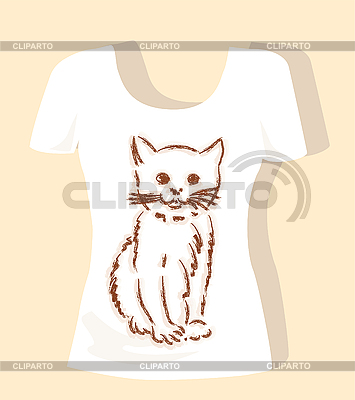 T-shirt design with brown fluffy kitten | Stock Vector Graphics |ID 3053781