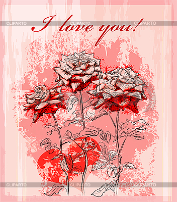 Valentines day greeting card with red rose and heart | Stock Vector Graphics |ID 3058621
