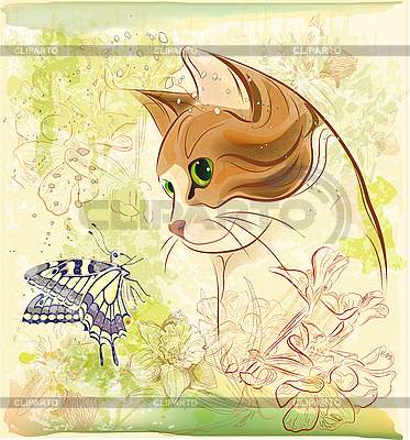 Cat playing with butterfly | Stock Vector Graphics |ID 3058641