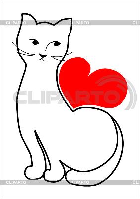 고양이와 심장   벡터 클립 아트  ID 3062051