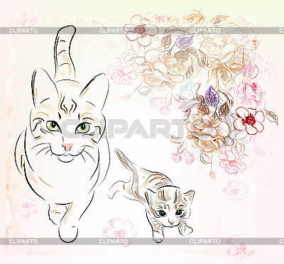Cat and kitten | Stock Vector Graphics |ID 3066283