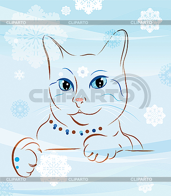 Cat and snowflakes | Stock Vector Graphics |ID 3066288