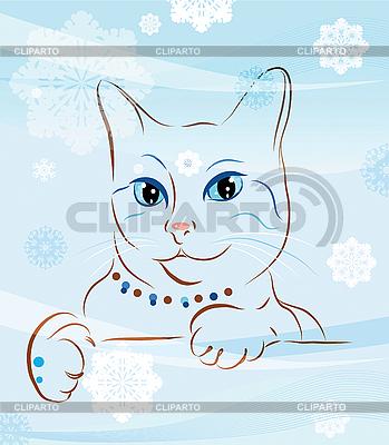 고양이와 눈송이 | 벡터 클립 아트 |ID 3066288