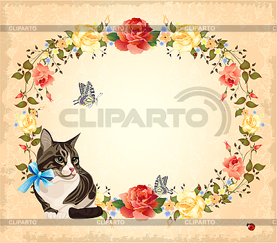 Greeting card with cat, roses and butterflies | Stock Vector Graphics |ID 3068170