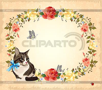 고양이, 장미와 나비 인사말 카드 | 벡터 클립 아트 |ID 3068170