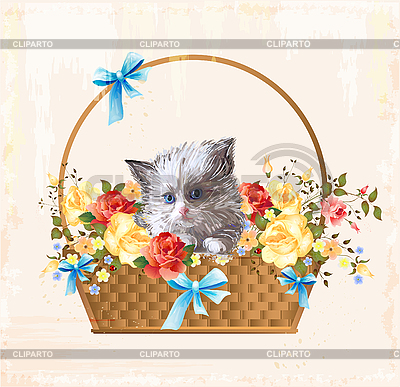 Vintage greeting card with fluffy kitten | Stock Vector Graphics |ID 3068173