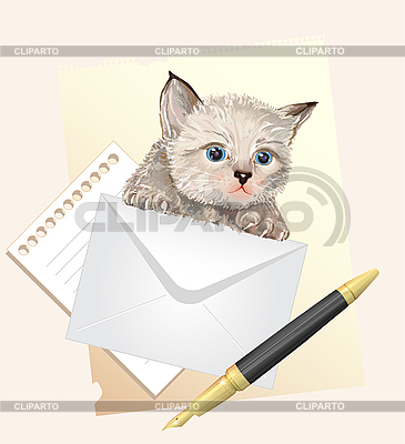 Fluffy kitten with envelope. Postage   Stock Vector Graphics  ID 3068179