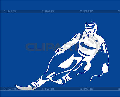 White silhouette of the skier | Stock Vector Graphics |ID 3068183