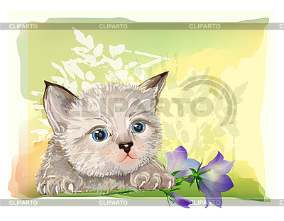 Fluffy kitten with bluebell | Stock Vector Graphics |ID 3068221