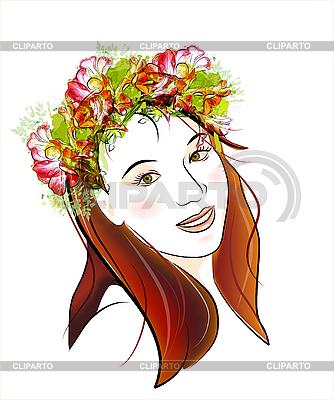 Rothaariges Mädchen mit grünen Augen | Stock Vektorgrafik |ID 3068286