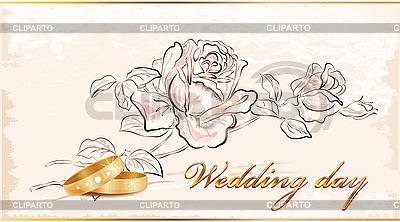 Hochzeitskarte mit Blumen und Ringen | Stock Vektorgrafik |ID 3068295