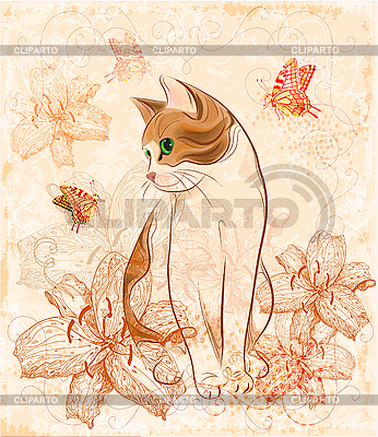 Vintage birthday card with cat and lilies | Stock Vector Graphics |ID 3069397