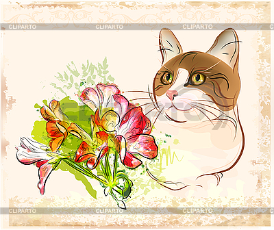 Cat with flowers | Stock Vector Graphics |ID 3077475