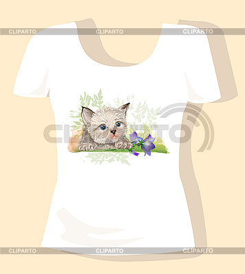 T-shirt design with kitten and bluebell | Stock Vector Graphics |ID 3077508