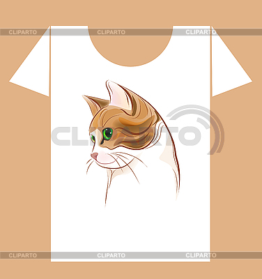 T-shirt design with ginger cat | Stock Vector Graphics |ID 3077523