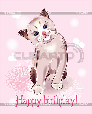 Happy birthday greeting card with little kitten | Stock Vector Graphics |ID 3077537