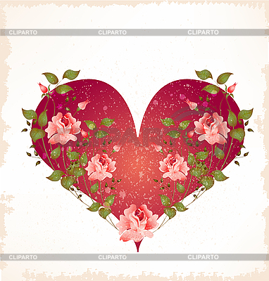 Valentines day greeting card with heart and roses | Stock Vector Graphics |ID 3081119